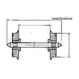 Roco 40183 Hjulaxel, 2 st, AC, 11 mm hjuldiameter, förlängd axel 23,8 mm