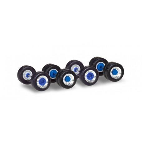 Herpa 053907 12 Set of wheels for trucks chromium|blue