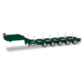 Herpa 076388-007 Goldhofer low boy trailer 5-axle with enclosed chutes, mossgreen