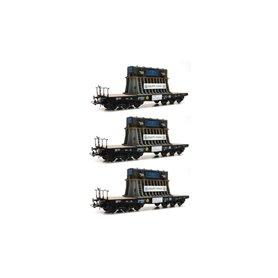 Vagnsset med 3 tungtransportvagnar typ DB