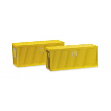 Herpa 053600-002 Accessories building site container, yellow (2 pieces)