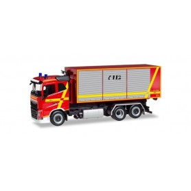 "Herpa 094023 Volvo FH flat Roof roll-off container truck ""Feuerwehr Furth im Wald"""
