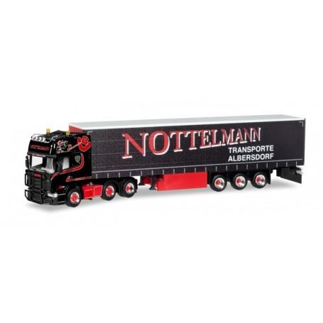 Herpa 308496 Scania R TL curtain canvas semitrailer 'Nottelmann'