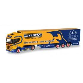 "Herpa 309325 Scania CR Highroof refrigerated box semitrailer ""Sturm | Eigro"""