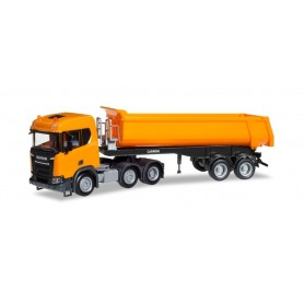 Herpa 309394 Scania CR ND XT 6x2 dump semitrailer, communal orange