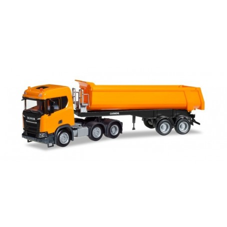 Herpa 309394 Scania CR ND XT 6x2 dump semitrailer, communal orange