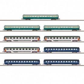 Märklin 87408 Display med 9 personvagnar typ DB|SNCF|SBB