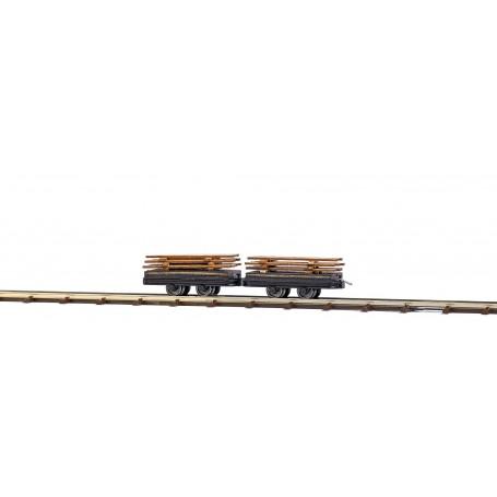 Busch 12218 Två flakvagnar med last av plankor