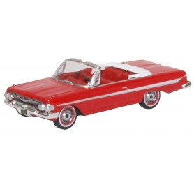 Oxford Models 124103 Chevrolet Impala 1961 Convertible Roman Red|White