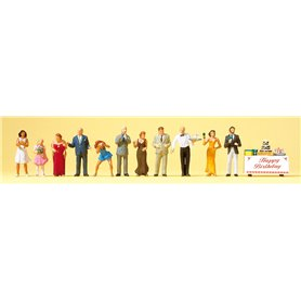 Preiser 10554 Födelsedagsparty, 11 figurer med tillbehör