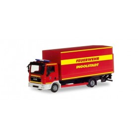 Herpa 094221 MAN TGL canvas truck with liftgate 'Ingolstadt fire department'