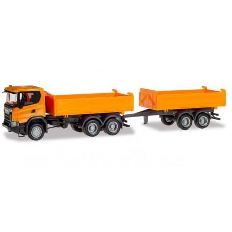 Herpa 309738 Scania CG 17 6x6 construction tandem axle dump trailer, municipal