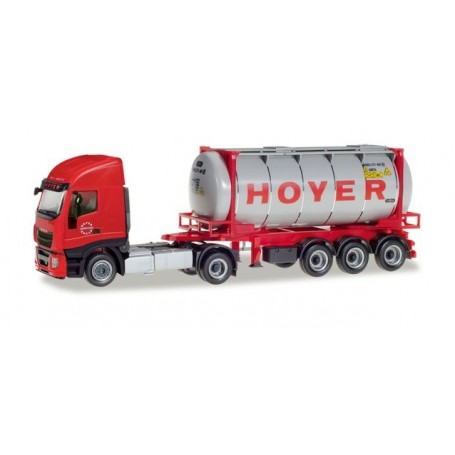 Herpa 309813 Iveco Stralis XP swapcontainer semitrailer 'Hoyer Chemie'
