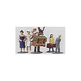 Merten H0 2209 Passagerare och en äldre man med dragspel och katt, 5 st