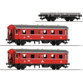 "Fleischmann 00026 Vagnsset med 2 personvagnar och en flakvagn ""Swiss Private Rail"""
