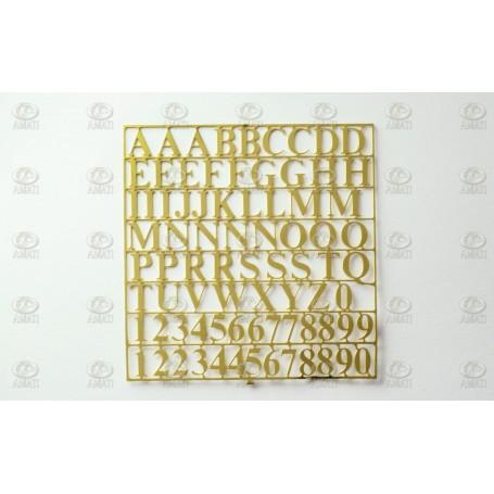 Amati 5650.01 Bokstäver, fotoetsad mässing, höjd på bokstäver 6 mm, 1 ark