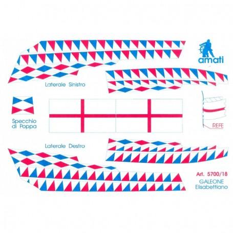 Amati 5700.18 Flaggor, självhäftande tyg, för Elisabethan Galeon, 1 set