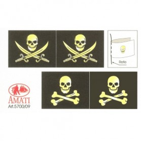 Amati 5700.09 Flaggor, självhäftande tyg, för piratskepp, 1 set
