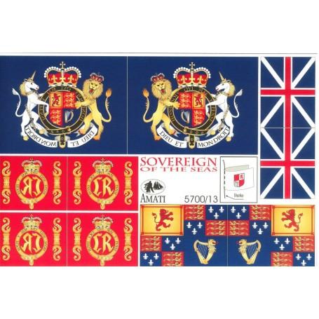 Amati 5700.13 Flaggor, självhäftande tyg, för Sovereign of the Seas, 1 set