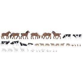 Faller 150938 Djur på bondgården, 36 st, hästar, kossor, får m.m.