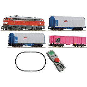 Fleischmann 931889 Digital Starter Set: Diesel locomotive class 218 with goods train