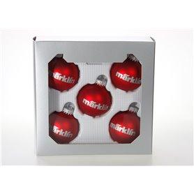 """Märklin 012426 Julgranskulor 5 st, röda """"Märklin"""", dekoration för Julgran, 6 cm"""