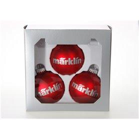 """Märklin 012427 Julgranskulor 3 st, röda """"Märklin"""", dekoration för Julgran, 8 cm"""