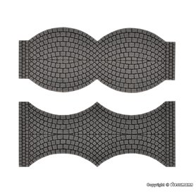 Vollmer 48244 Street plate cobblestone, 2 end pieces each, L 1,7 cm x W 8 cm