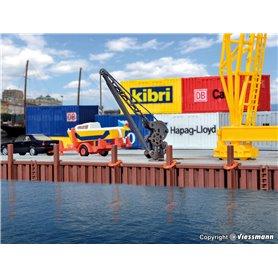Kibri 38528 Tillbehör för hamnen, kajkant, stolpar, livbojar m.m.