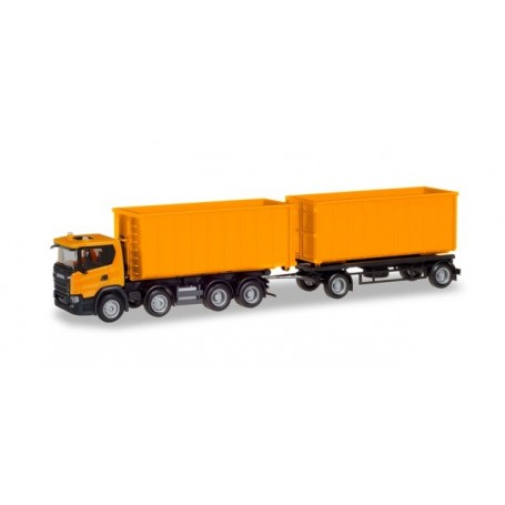 Herpa 309950 Scania CG 17 8×4 roll-off container trailer, communal orange