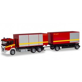 Herpa 310017 Scania CG 17 roll-off container truck 'fire department'