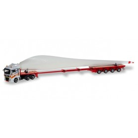 Herpa 310062 MAN TGX XLX teletrailer truck with wind turbine wing 'Gatto Wind'
