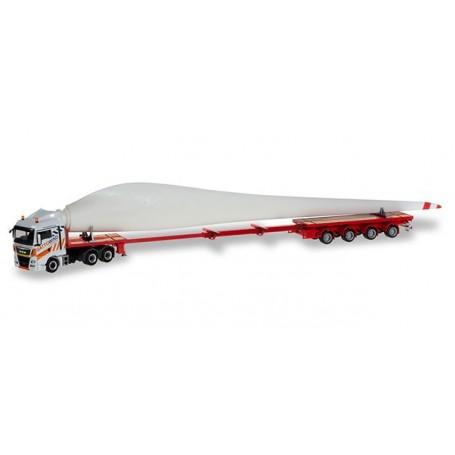 Herpa 310062 MAN TGX XLX teletrailer truck with wind turbine wing 'Gatto Wind'