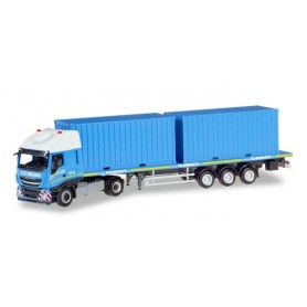 Herpa 310093 Iveco Stralis XP flatbed semitrailer with 2 × 20 ft. Container 'Felbermayr' (A)
