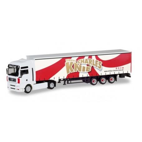 Herpa 310154 MAN TGA XXL curtain canvas semitrailer 'Circus Charles Knie'