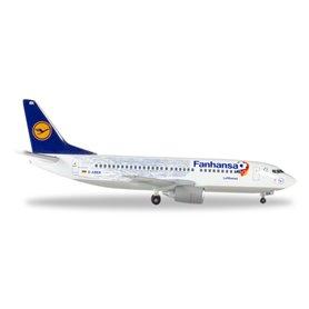 """Herpa 562546 Flygplan Lufthansa Boeing 737-300 inkl. Stand """"Fanhansa"""""""