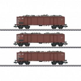 Märklin 46914 Vagnsset med 3 öppna godsvagnar Eaos 106 typ DB