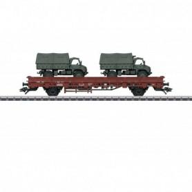 Märklin 46936 Stolpvagn KBs 443 typ DB med last av 2 st Unimog S404
