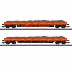 Märklin 47099 Vagnsset med 2 stolpvagnar 'Ballast Transport' RTS
