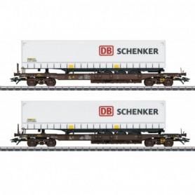 Märklin 47110 Vagnsset med 2 flakvagnar Rail Cargo Austria med last av trailer 'DB Schenker'