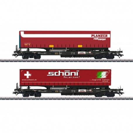 Märklin 47115 Vagnsset med 2 flakvagnar Hupac med last av trailers 'Planzer|Schöni'