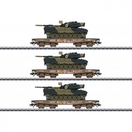 Märklin 48795 Vagnsset med 3 tungtransportvagnar typ DSB med last av Tanks Leopard 1A5