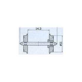 Märklin 700580 Hjulaxel, 1 st, isolerad på ena sidan, 10.4 mm hjuldiameter, axelavstånd 24.4 mm, med spetslager