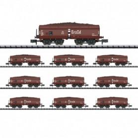Trix 15449 Display med 10 godsvagnar Erz Id typ DB