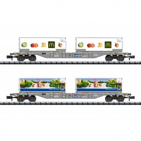 Trix 15488 Vagnsset med 2 flakvagnar med last av containers 'McDonalds|Aldi' typ SBB|CFF|FFS