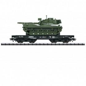 Trix 24214 Tungtransportvagn Rlmmps typ DB med lasv ta M48 Tank