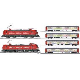 """Märklin 36184DCC-42906DC Ellok Vectron och 4 personvagnar """"Snälltåget"""", loket ombyggt till DCC och vagnarna har hjul bytta ti..."""