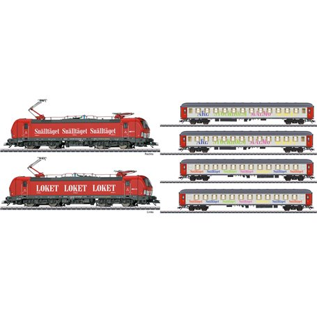 """Märklin 36184DCC-42906DC Ellok Vectron och 4 personvagnar """"Snälltåget"""" DCC"""