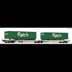 "Roco 76432 Containervagn Sdggmrs/T2000 AAE med last av 2 trailers ""Carlsberg"""