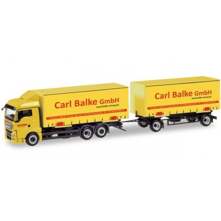 Herpa 310222 MAN TGX XLX curtain canvas Trailer 'Carl Balke GmbH'